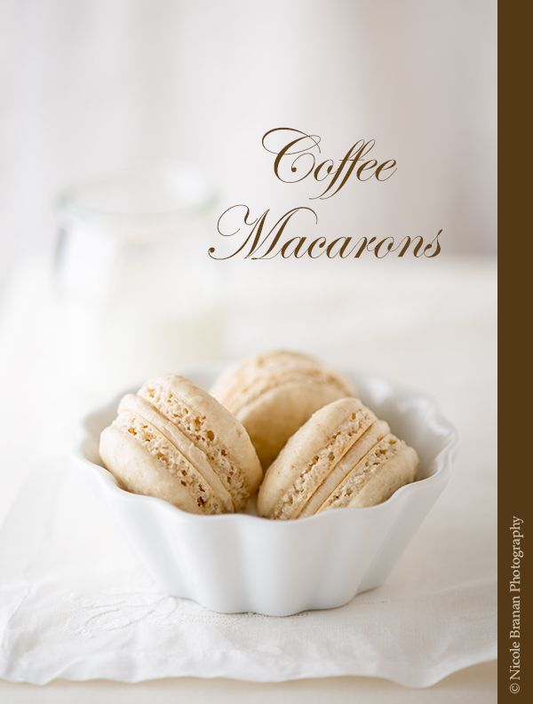 A recipe for delicious coffee macarons with espresso-flavored meringue shells and a coffee liqueur buttercream filling.