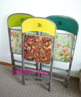 Metal Folding Chairs-Revived!Folding Chairsreviv, Metals Folding Chairs, Flower Shops, Chairs Revival Ugly, Old Chairs, Furniture Ideas, Metals Chairs, Folding Chairs Revival, Crafts