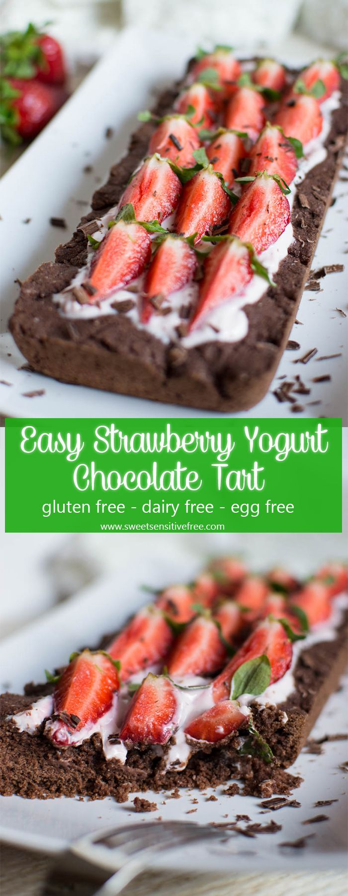 The perfect, easy Spring dessert, gluten free vegan chocolate tart with yogurt and strawberries on top! // Il dessert perfetto per la primavera, una frolla al cioccolato senza glutine e vegan con yogurt e fragole!