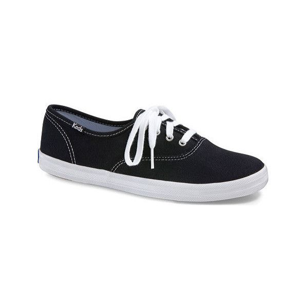 Women's Keds Champion Oxford Canvas Sneaker ($40) ❤ liked on Polyvore featuring shoes, sneakers, black, casual, casual shoes, black lace up flats, keds sneakers, black flats, black canvas sneakers and black round toe flats