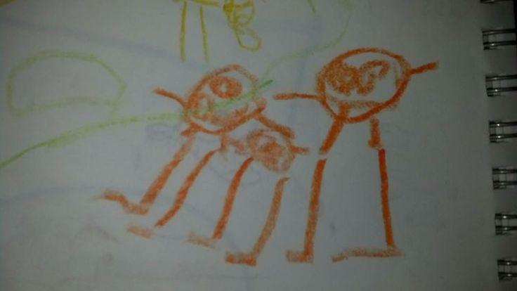 BJ's drawing of himself, Nana and Granddaddy <3