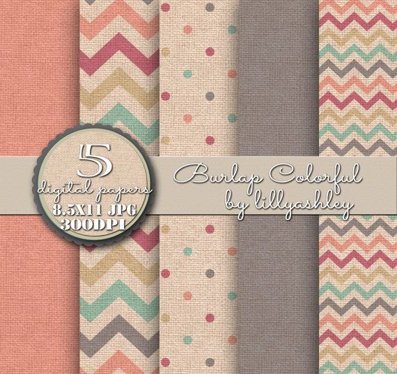 Burlap Texture Backgrounds With Chevron, Polka Dots, Solid