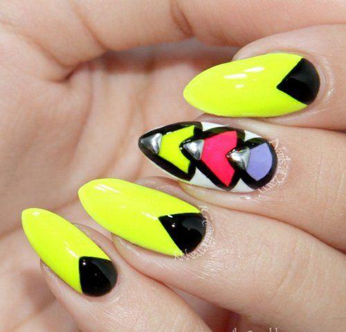 Déco ongles , 110 idées surprenantes et tendance pour l\u0027été à découvrir.  idee ongles jaune noir
