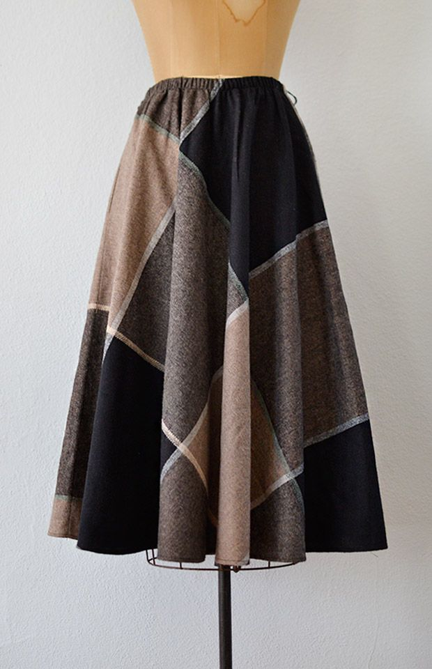 vintage 1980s bold plaid wool a-line skirt