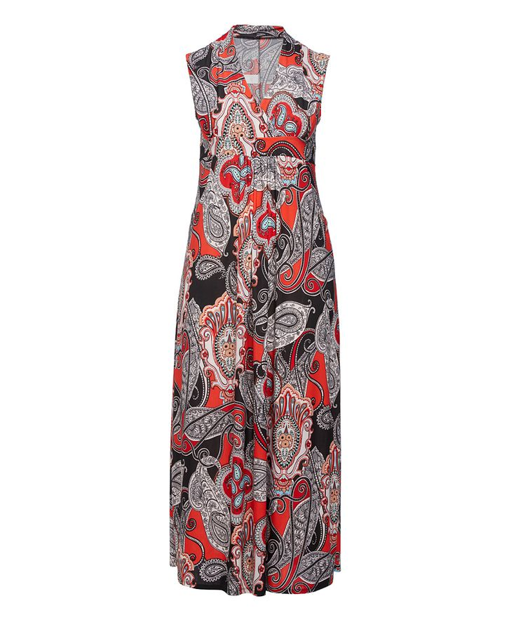 Red & Black Paisley Surplice Maxi Dress - Plus