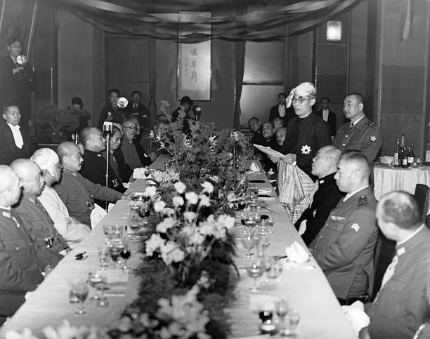 Head of state of Burma Ba Maw making a speech at a dinner with Japanese Prime Minister General Hideki Tojo and Admiral Shigetero Shimada on March 23...