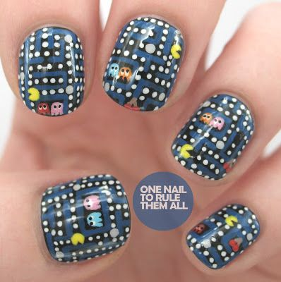 One Nail To Rule Them All: Pac-Man Nail Art