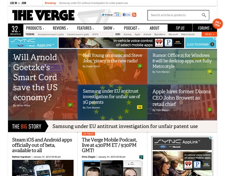TheVerge.com - innovative tile board design with broken grid to force scanning of all content and minimize automatic sub conscious filtering by user.   Page may be too long with unclear communication of what each page section contains.  Scan fatigue.