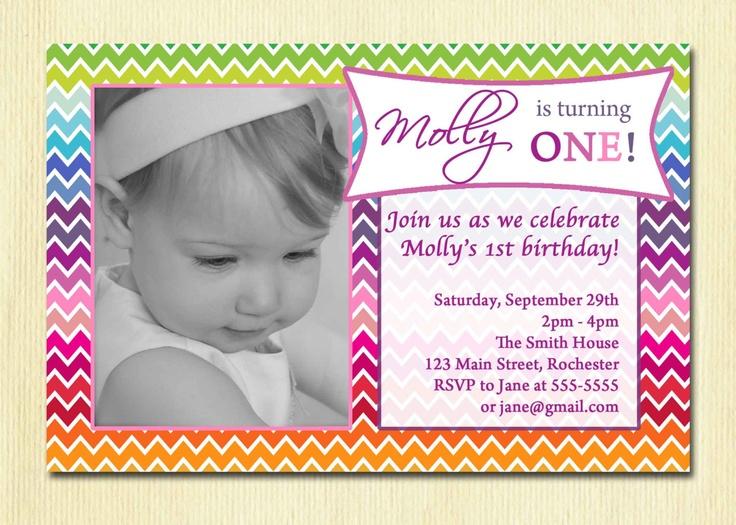 Rainbow Birthday Party Invitation - Girls Photo Invitation -  Printable First Birthday Chevron Invite. $12.00, via Etsy.
