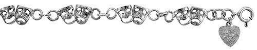 Sterling Silver Charm Bracelet w/ Drama Masks | Jewelry Mall