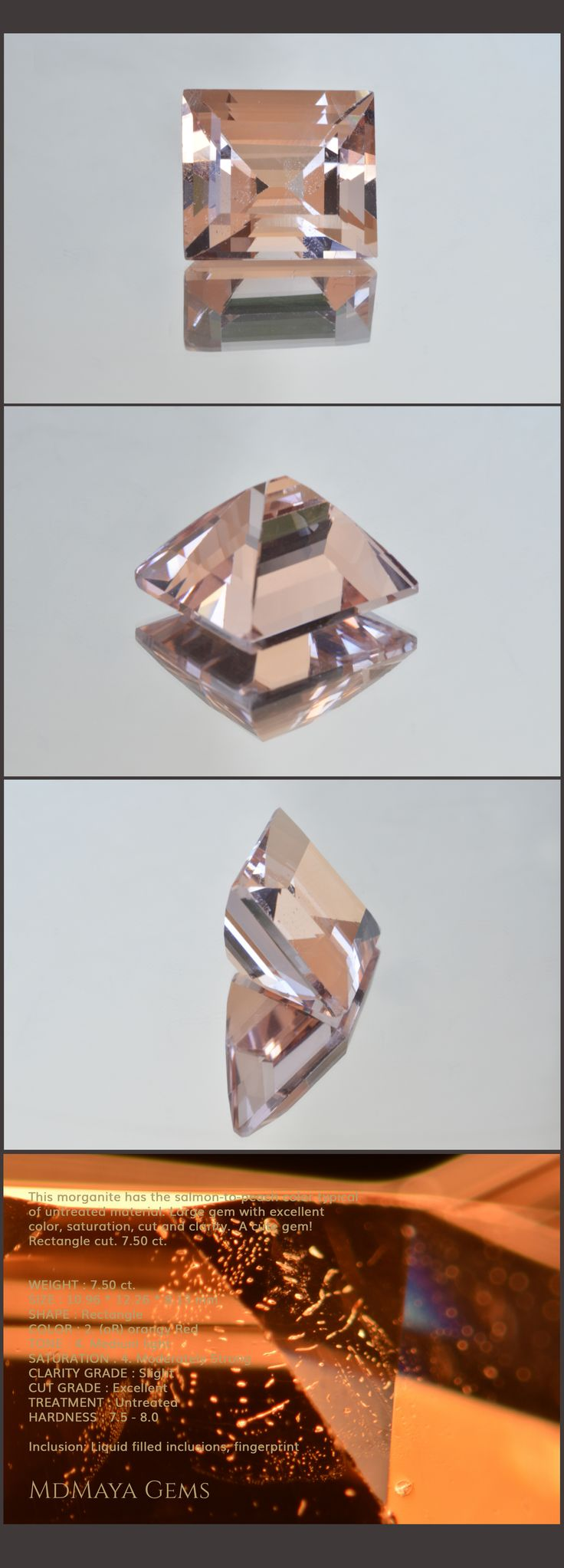 This morganite has the salmon-to-peach color typical of untreated material. Large gem with excellent color, saturation, cut and clarity.  A cute gem! Rectangle cut. 7.50 ct. Loose Morganite Gemstones for sale MdMaya Gems