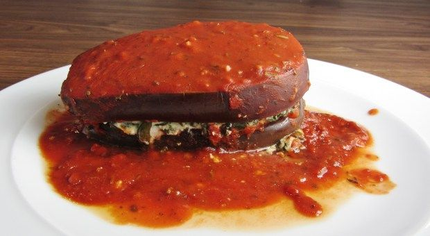 Spinach and Ricotta Aubergine Stacks