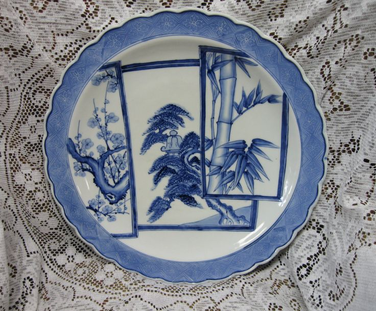 Blue Japanese Porcelain Charger Vintage, Aoki China Charger Plate/Bowl, Blue and White Asian Plate, Oriental Charger, Japanese Charger Plate by LadybugCreations4YOU on Etsy