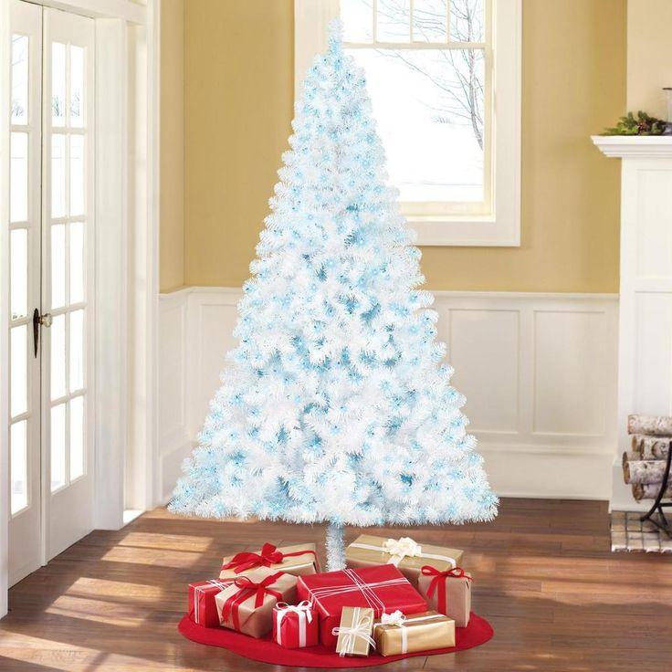 Pre-Lit 6.5' Pine White Artificial Christmas Tree Xmas Trees with Blue-Lights  #christmastree #xmastrees #christmas #holidaydecor #xmas #homedecor