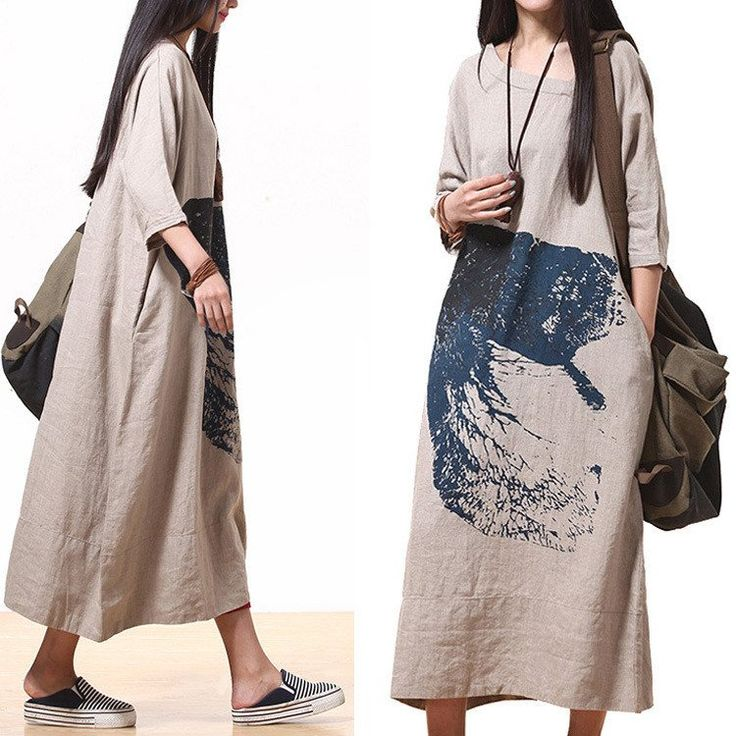 Cotton linen loose print maxi dress