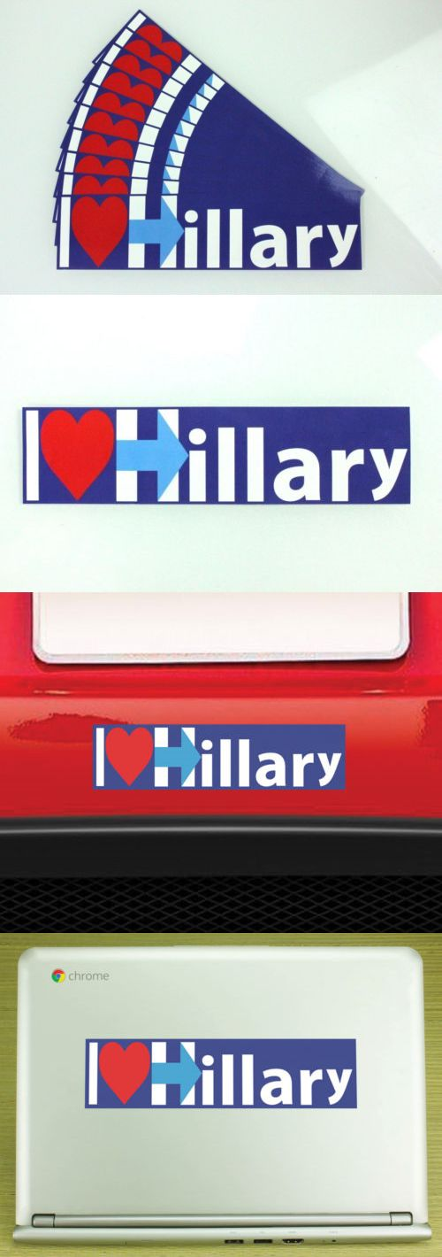 Hillary Clinton: Hillary Clinton I Heart Hillary 2016 Campaign 2X8 Car Bumper Sticker 10 Pack -> BUY IT NOW ONLY: $6.92 on eBay!