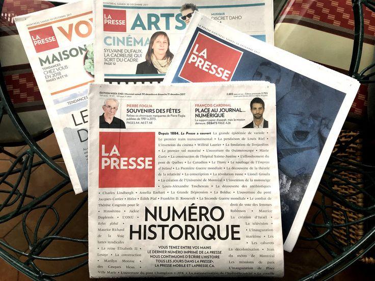 LA PRESSE format papier (20 octobre 1884 - 30 décembre 2017) Les lecteurs de LA PRESSE en format papier vivent aujourd'hui, samedi 30 décembre 2017, un deuil très profond. La fin d'un symbole et d'une façon de vivre pour les Montréalais, la fin complète de leur journal papier. Il reste d'autres journaux papier toujours vivants à Montréal, comme le Devoir et Le Journal de Montréal, mais aucun ne remplacera LA PRESSE format papier... Adieu chère PRESSE! plus.lapresse.ca/screens/4d592...