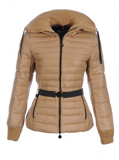 Rosie Huntington-Whiteley wearing Moncler Lierre Belted Puffer Jacket with  Knit