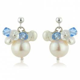 Adriana Pearl Earrings - Pale Blue