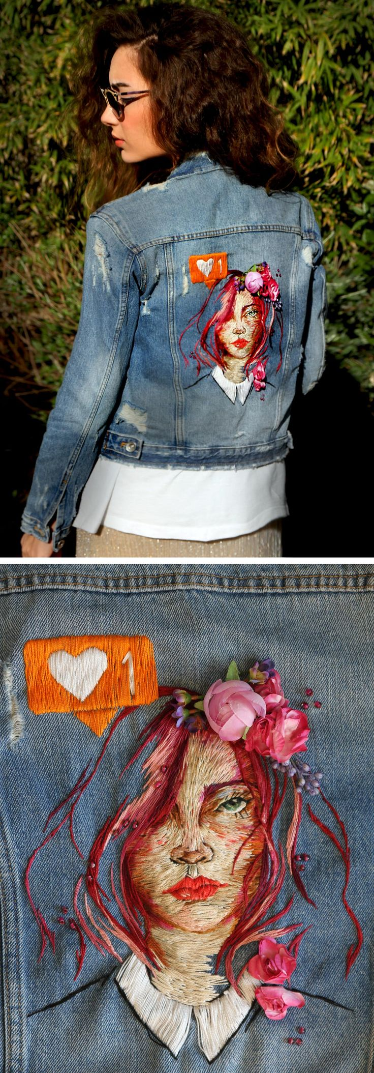 Denim Jacket Embroidery by Ezgi Pamir | embroidery | modern embroidery | floral crowns