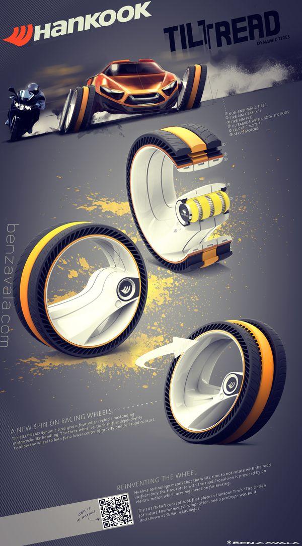 TilTread - Dynamic Tire Concept by Ben Zavala, via Behance