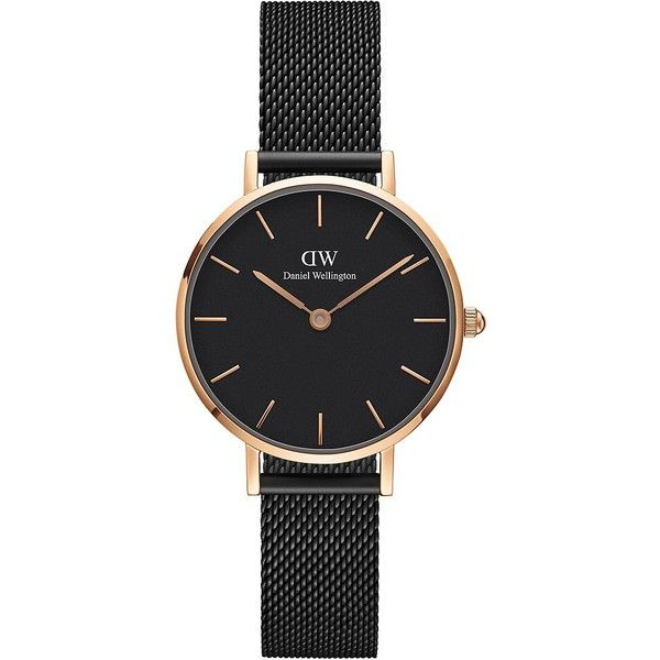 Daniel Wellington Women's Classic Petite 28 Stainless Steel Strap... (9.250 RUB) ❤ liked on Polyvore featuring jewelry, watches, black, stainless steel jewelry, daniel wellington watches, stainless steel watches, thin wrist watch and petite jewelry