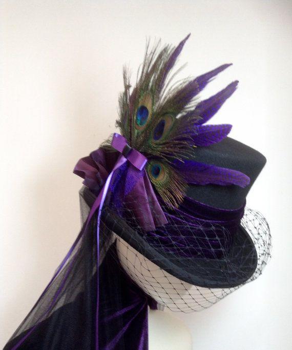 Steampunk purple and black wedding hat
