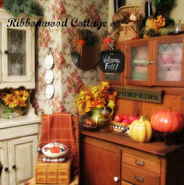 Ribbonwood Cottage-Fall Decor On The Hoosier In The