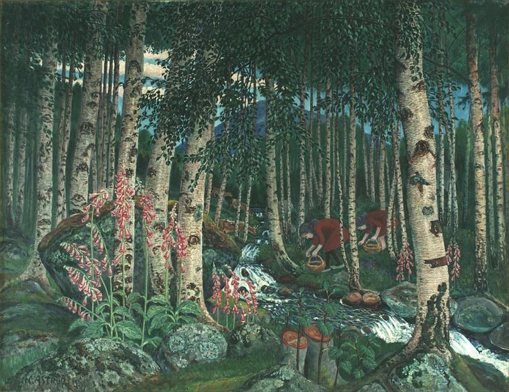 Nicolai Astrup (Norv., 1880-1928), Foxgloves, ca. 1920, oil on canvas, 77 x 99 cm.