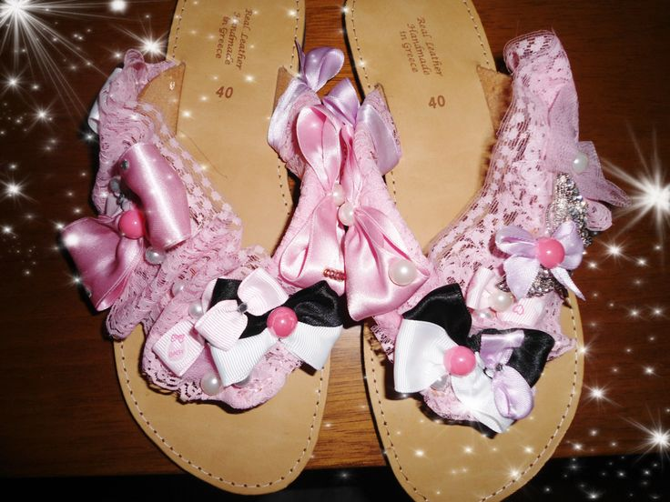 handmade sandals pink/white and black,bows,pearls strass and pink ribbon #sandals #summer #handmade #summersandals #pink #lace #bows #pearls #χειροποιητα #σανδαλια #greeksandals