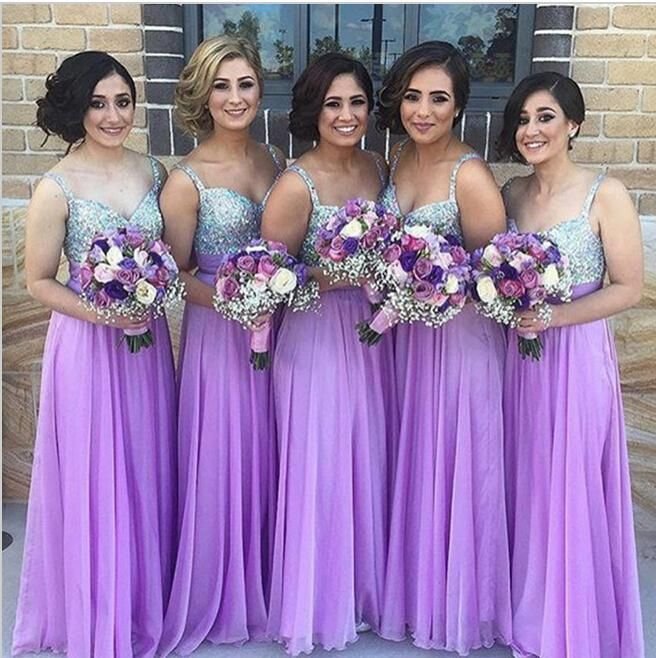 Under $100 Purple Bridesmaid Dresses For Wedding Party Spaghetti V Neck Beaded Sequin Long Chiffon Bridal's Bridesmaid Gowns B77
