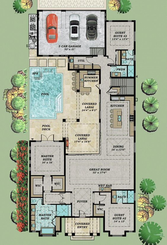 Plan 31850DN: Every Bedroom a Private Suite