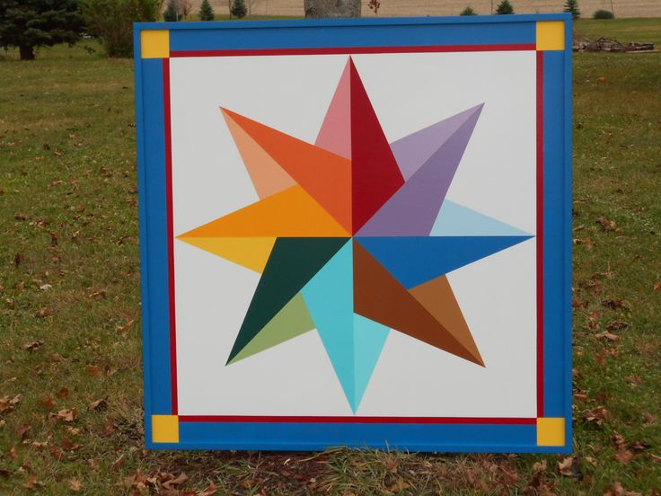 Star Barn Quilt 4'x4' with frame Morningstarbarnquilts.com