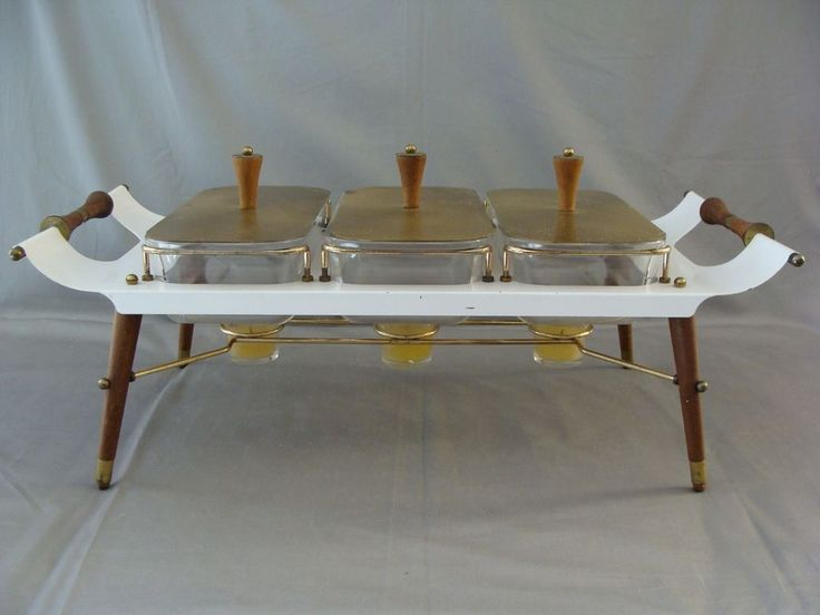 Rare Vintage Mid Century Modern Chafing Dish With 3 Pyrex Warming Dishes