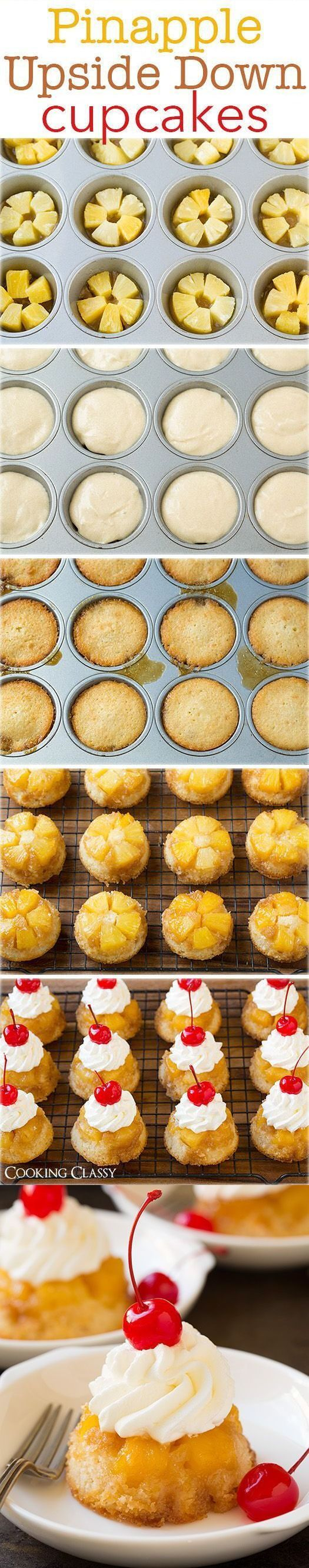 Pineapple Upside Down Cupcakes Recipe food delicious baking recipe recipes dessert recipe dessert recipes food tutorials food tutorial