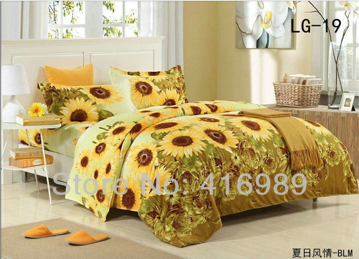 2013 Free Shipping Sunflowers Printed Cotton Queen/King/Twin 4pcs Bedding set/Bed Sheet/Doona Duvet Cover/Pillowcases LG-19