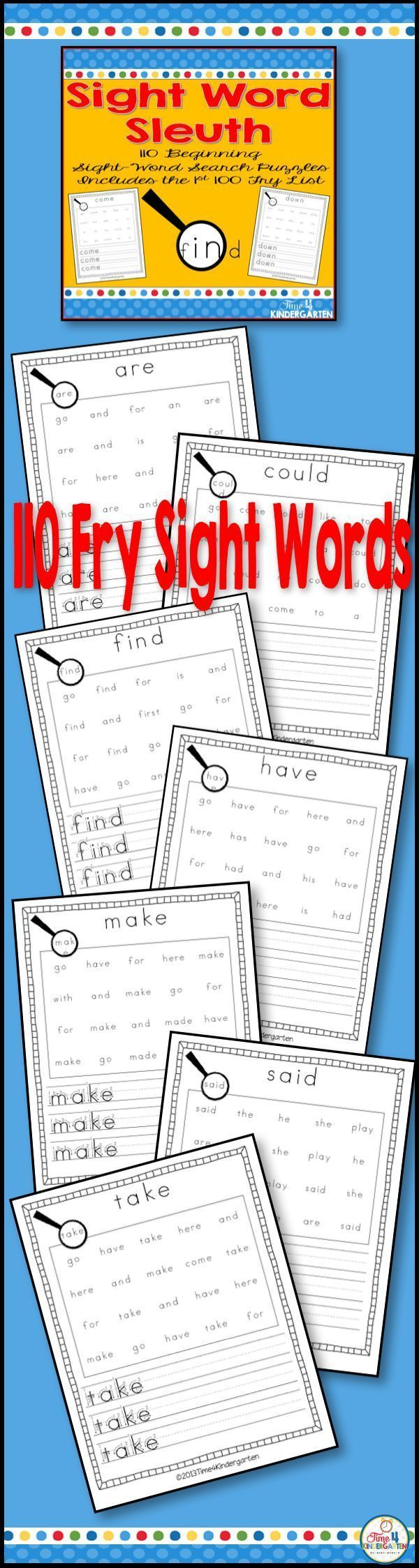 Sight Word Search Fry List for Kindergarten. This resource used the first sight words from the Fry list. students search for the words then practice writing the words