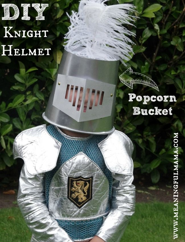 DIY Knight Helmet from a Popcorn Bucket