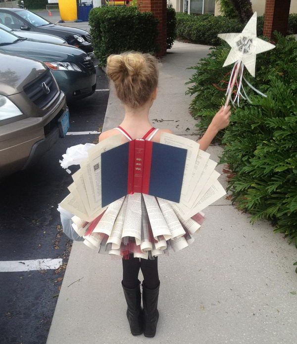 Book Fairy Costume for Girl - 50  Creative Homemade Halloween Costume Ideas  for Kids, http://hative.com/creative-homemade-halloween-costume-ideas-for-kids/, DIY Halloween costumes DIY kids costumes #halloween
