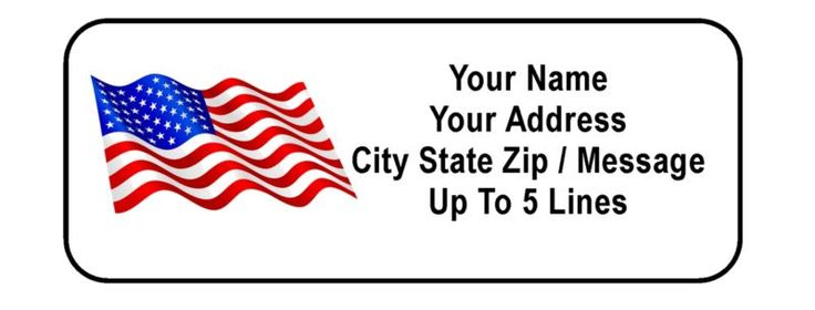 30 American Flag Personalized Address Labels - or Labels with your message, etc. Specify up to five lines of text for address; if no address/text is s... #labels #address #personalized #flag #american