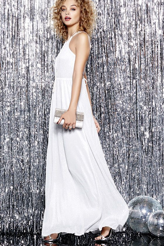Comet's Tale Silver Maxi Dress at Lulus.com!