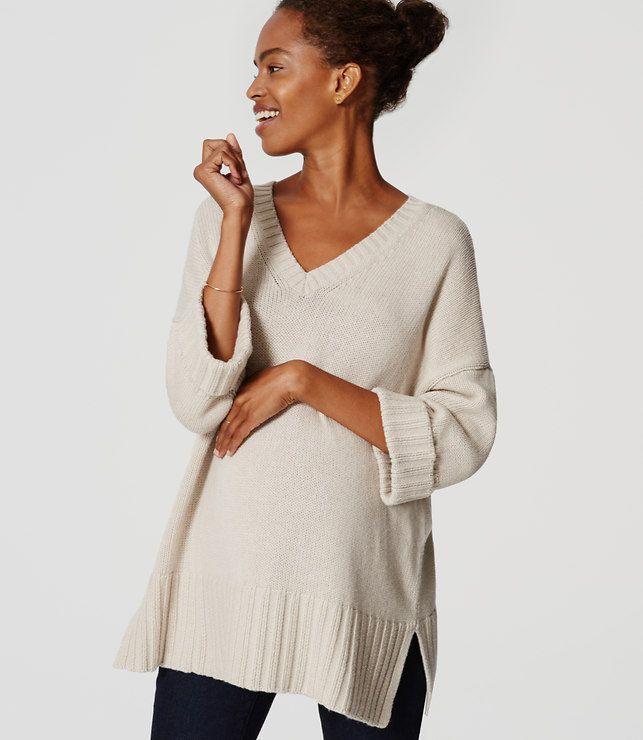 LOFT Maternity Cuffed Ribtrim Sweater