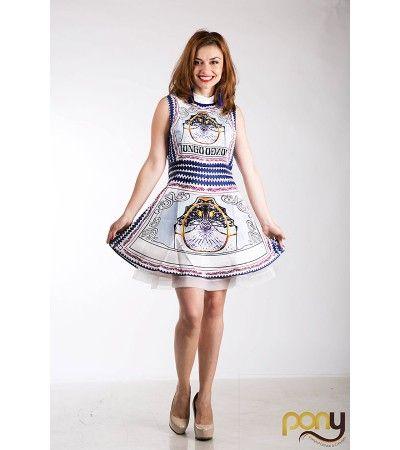 Light Blue Ruffles Printed Dress