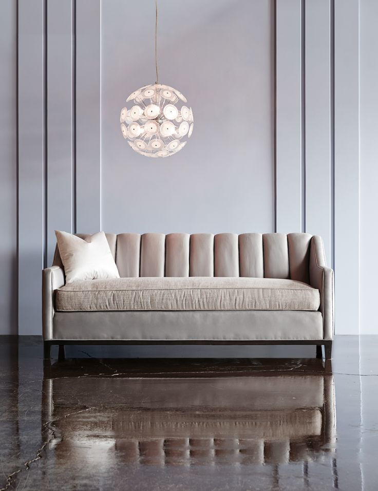 @BarrymoreFurniture - Neville Channel Back Sofa – The Neville Collection features clean, modern lines with elegantly sloping track arms, high tapered legs and a channel back. #hpmkt14
