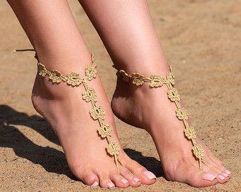 Crochet sandali a piedi nudi, piedi gioielli, regalo da damigella d'onore, sandali a piedi nudi, scarpe da spiaggia, cavigliera, scarpe, matrimonio sulla spiaggia, estate scarpe da sposa