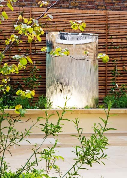 Water Wall in Stainless Steel: Self-contained Water Feature. David Harber, UK