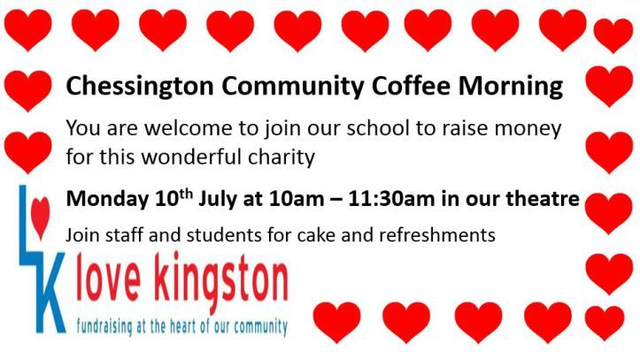 Chessington Community Coffee Morning 10th July 10am to 11:30am at #Chessington Community College for Love Kingston