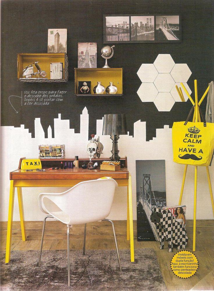 A edição 33 da Decorar Mais Por Menos montou um ambiente de home office lindo com a Escrivaninha Zoe, da MMM; http://www.meumoveldemadeira.com.br/produto/escrivaninha-zoe-amarelo-canario-e-caramelo
