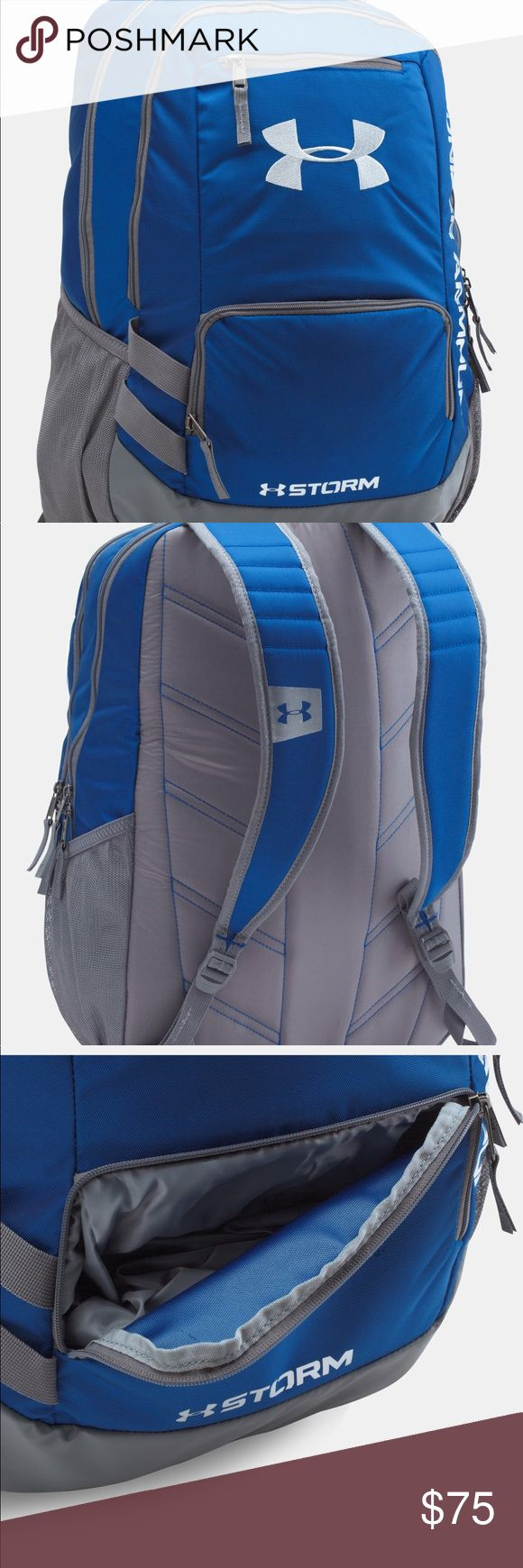 """New Under Armour UA Unisex Backpack Bag UA Storm technology delivers an element-battling, highly water-resistant finish Tough, abrasion-resistant bottom panel Soft-lined laptop sleeve—holds up to 15"""" MacBook Pro® or similarly sized laptop Water-repellent front valuables pocket to keep your stuff safe Adjustable HeatGear® shoulder straps for extra comfort 2 side water bottle pockets Top grab handle Large, gusseted front laundry pocket Dimensions: 18"""" x 13"""" x 8"""" Cubic Volume: 1875…"""