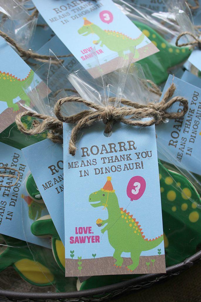 A dino-mite birthday bash! Thank you tags - Just Add Confetti